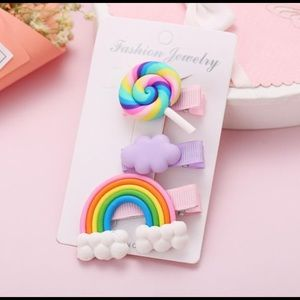 3/$20 Purple Cloud Lollipop Rainbow Hair Clip Set